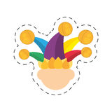 Cartoon jester face hat april fools day Stock Image