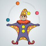 Cartoon of jester juggling balls Stock Photo