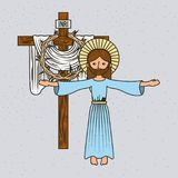 Cartoon jesus christ ascension cross and crown thorns. Vector illustration Royalty Free Stock Image