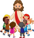 Cartoon Jesus Christ being surrounded by children. Illustration of Cartoon Jesus Christ being surrounded by children stock illustration