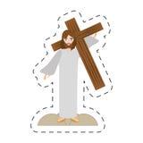 Cartoon jesus christ carries cross via crucis Stock Images