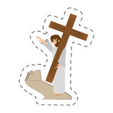 Cartoon jesus christ comfort girls - via crucis station. Illustration eps 10 Stock Images