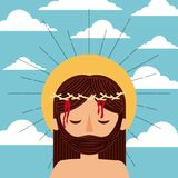 Cartoon jesus christ with crown thorns clouds sky. Vector illustration Stock Images