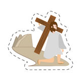 Cartoon jesus christ falls first time - via crucis station Royalty Free Stock Photo