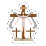 Cartoon jesus christ sacred cross Royalty Free Stock Photos