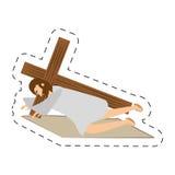 Cartoon jesus christ second fall via crucis station Stock Photo