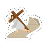 Cartoon jesus christ third fall via crucis station Royalty Free Stock Photography