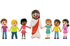 Cartoon Jesus hand in hand kids children. Cartoon Jesus hand in hand with kids or children vector illustration