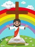 Cartoon Jesus open arms gospel bible meadow Royalty Free Stock Image