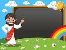 Cartoon jesus teaching stick blank blackboard chalkboard meadow Royalty Free Stock Photo