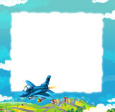 Cartoon jet fighter flying over some city / frame for different usage. Beautiful and colorful illustration for the children - for different usage - for fairy Stock Photos