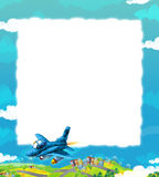 Cartoon jet fighter flying over some city / frame for different usage. Beautiful and colorful illustration for the children - for different usage - for fairy Stock Photo