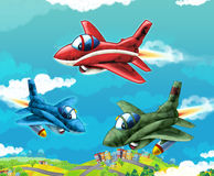Cartoon jet fighters flying over some city. Beautiful and colorful illustration for the children - for different usage - for fairy tales Royalty Free Stock Photography