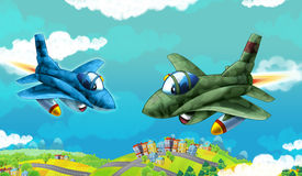 Cartoon jet fighters flying over some city. Beautiful and colorful illustration for the children - for different usage - for fairy tales Stock Photos
