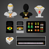 Cartoon Jewelry Accessories Set. With elegant rings earrings expensive necklaces bead boxes and female mannequins  vector illustration Royalty Free Stock Image
