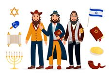 Cartoon jews characters icons collection isolated on white background with jewish symbols and holidays attributes vector. Illustration Royalty Free Stock Image