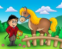 Cartoon jockey with horse Royalty Free Stock Image