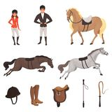Cartoon jockey icons set with professional equipment for horse riding. Woman and man in special uniform with helmet. Equestrian sport concept. Flat vector Royalty Free Stock Images