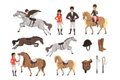 Cartoon Jockey Icons Set With Professional Equipment For Horse Riding Woman And Man In Special