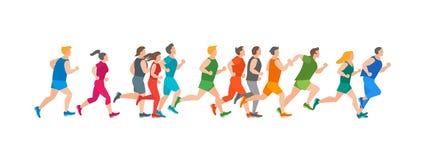 Cartoon Jogging Characters People. Vector vector illustration