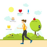 Cartoon Jogging Girl Infographics. Vector Royalty Free Stock Photos