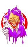 Cartoon joker character smiling holding play card violet suit hair white gloves vector illustration. Creepy joker face stock illustration