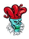 Cartoon Joker skull. On torned paper for t-shirt design stock illustration