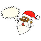 Cartoon jolly santa claus face with speech bubble Stock Photography