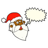 Cartoon jolly santa claus face with speech bubble Royalty Free Stock Images