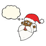 Cartoon jolly santa claus face with thought bubble Royalty Free Stock Photo