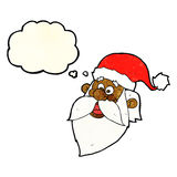 Cartoon jolly santa claus face with thought bubble Royalty Free Stock Image