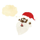 Cartoon jolly santa claus face with thought bubble Stock Images