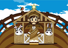 Cartoon Joseph Bible Character. Vector Illustration of a Cute Cartoon Joseph at the Nativity Barn Bible Illustration Royalty Free Stock Photos