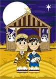Cartoon Joseph and Mary. Vector Illustration of a Cute Cartoon Joseph and Mary with Baby Jesus at the Nativity Barn Bible Illustration Stock Photos