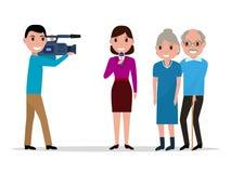 Cartoon journalist interviewing elderly Stock Images