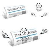 Cartoon joyful business newspaper character Royalty Free Stock Images