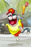 Cartoon joyful cat in clothes to have fun in the tropics Stock Images