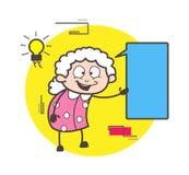 Cartoon Joyful Granny Got an Idea Vector Business Concept. Cartoon Joyful Granny Got an Idea Vector Business design Stock Photography