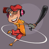 Cartoon joyful man with a bat in hand playing baseball Stock Images