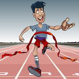 Cartoon man first reaches the finish line. Cartoon joyful man first reaches the finish line and rips off the red ribbon Royalty Free Stock Images