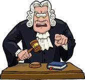 Cartoon judge accuses. On a white background illustration Stock Images