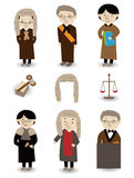 Cartoon Judge icon set. Drawing Royalty Free Stock Photos