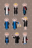 Cartoon Judge stickers Royalty Free Stock Photos