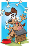 Cartoon juggling dog. A cartoon dog juggling on his kennel Stock Photo