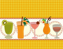 Cartoon Juice party card. Drawing Stock Photography
