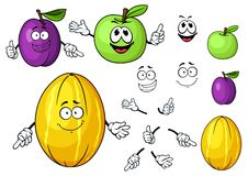 Cartoon juicy green apple, melon and plum fruits. Juicy fresh green apple, melon and plum fruits cartoon characters with cute faces for healthy food, farming or Stock Images