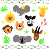 Cartoon Jungle animal heads set. Modern concept of flat design for kids cards, banners and invitations. Hand drawn. Cartoon Jungle animal heads set. Modern Stock Photo