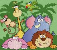Cartoon jungle animals Stock Photos