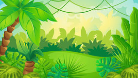 Cartoon Jungle Game Background. Vector cartoon game background of green jungle landscape
