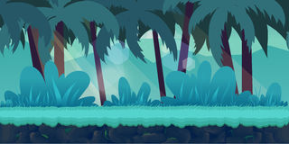 Cartoon jungle landscape, vector unending background Royalty Free Stock Photos